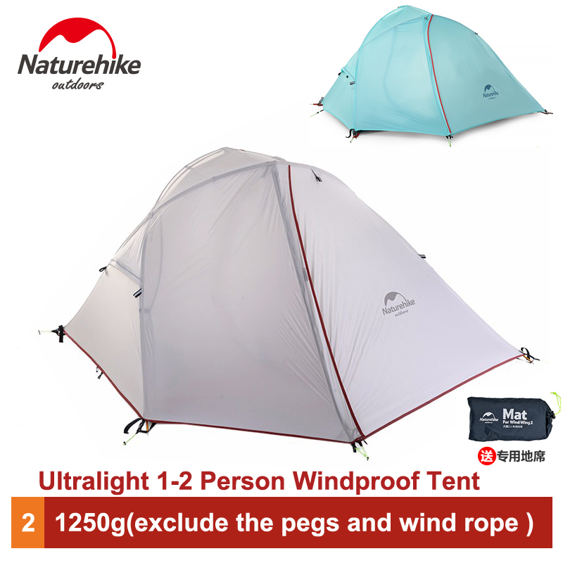 Naturehike 1-2 Person Tent Outdoor Ultralight Tent Camping Windproof 4 season Tent NH16S012-S naturehike factory store free mat ultralight taga tent 1 2 person outdoor camping hiking 3 season double layer windproof tent