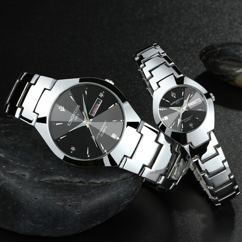 KINGNUOS Fashion Brands Men Woman Wristwatch Lovers Couple Watches Authentic Quartz Clock Man Calendar Waterproof Watch