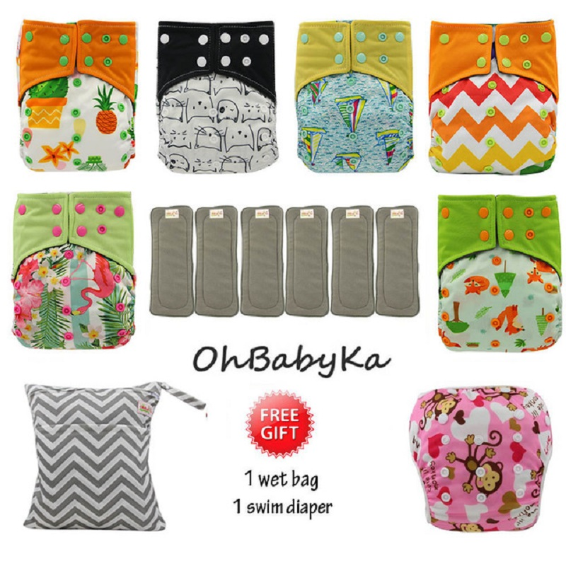 OhBabyKa Cloth Diapers Couche Lavable Bamboo Charcoal Diapes Reusable Baby AI2 Pocket Diaper +6pcs Diaper Insert Baby Nappies цена