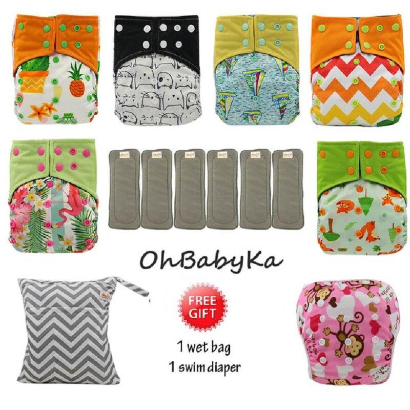 OhBabyKa couches lavables Couche Lavable bambou charbon de bois rideaux réutilisables bébé AI2 poche Couche + 6 pièces couches Insert bébé couches