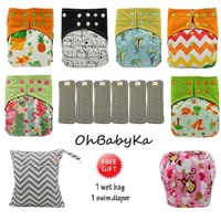 OhBabyKa Cloth Diapers Couche Lavable Bamboo Charcoal Diapes Reusable Baby AI2 Pocket Diaper +6pcs Diaper Insert Baby Nappies