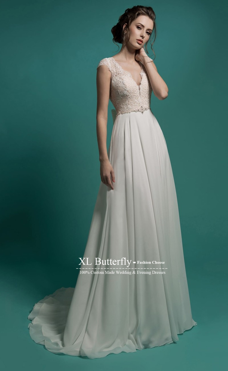 Long Chiffon Wedding Dresses Cap Sleeves V Neck Lace Wedding Gowns ...