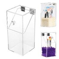 2019 NEW Transparent PS Flip Makeup Brush Tube White Purple Pearl Dustproof Desktop Makeup Brush Storage Box