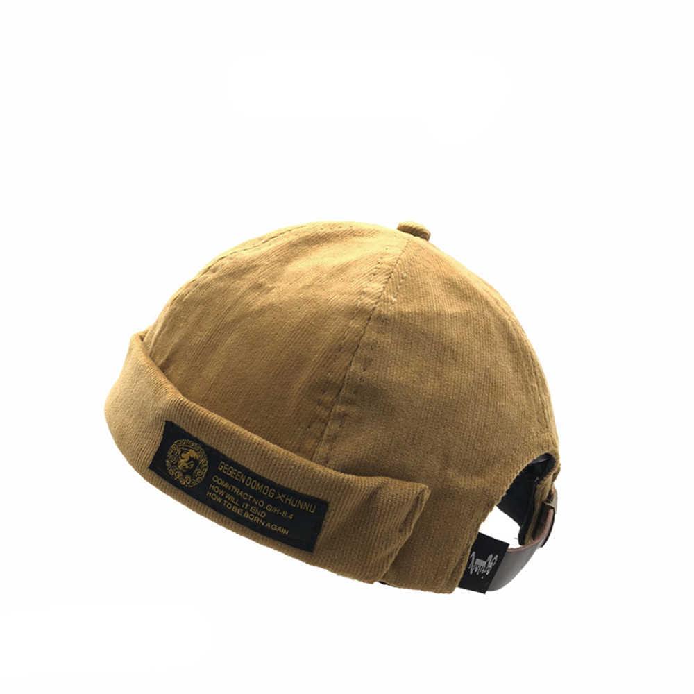 fc3cfa745d Men Street Casual Docker Sailor Biker Hat Mens Corduroy Adjustable French  Brimless Hat Vogue Retro Skullcap Pumpkin Navy Beanie
