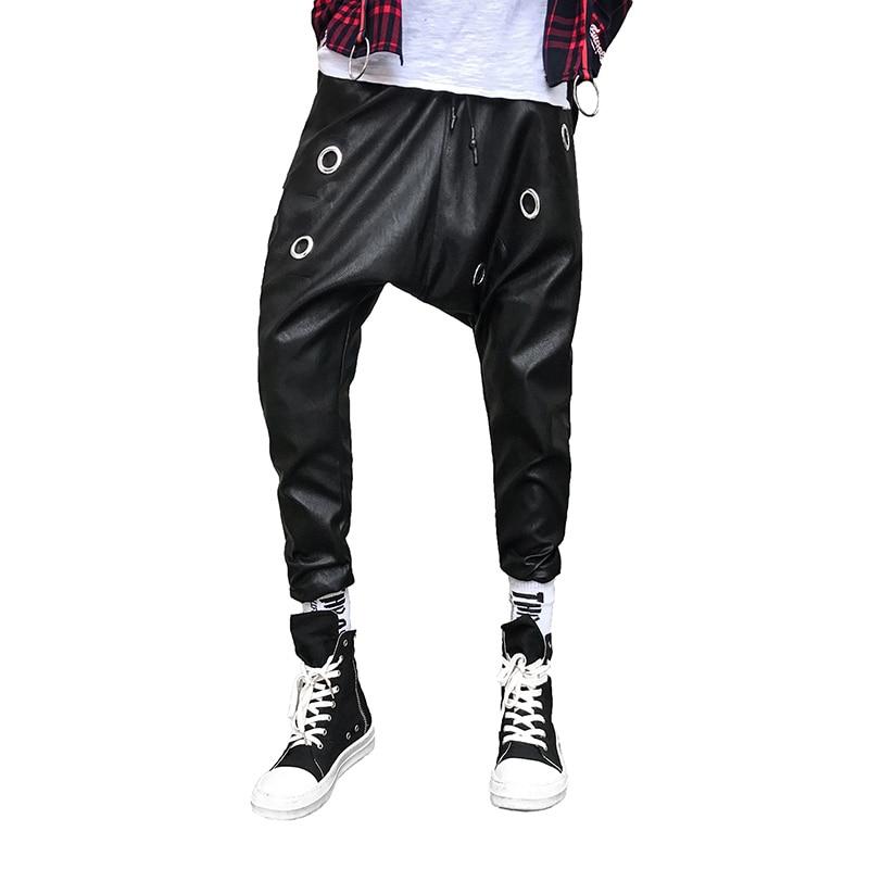 Club No Pantalones Hombre Coreano Personalidad Hop De Baggy Hip Suelto Incorporar Estilista Metal Marea Negro 2019 Haren Cuero x04wpOqga