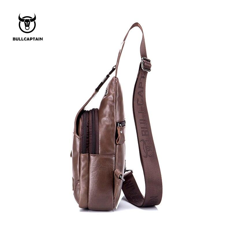 Schlinge Coffee brown Pack Handy Männer Brust Bags Flap Strap Neue Messenger Kleine Umhängetasche Echtes Brusttaschen Leder Mens ZZwqYxT1g