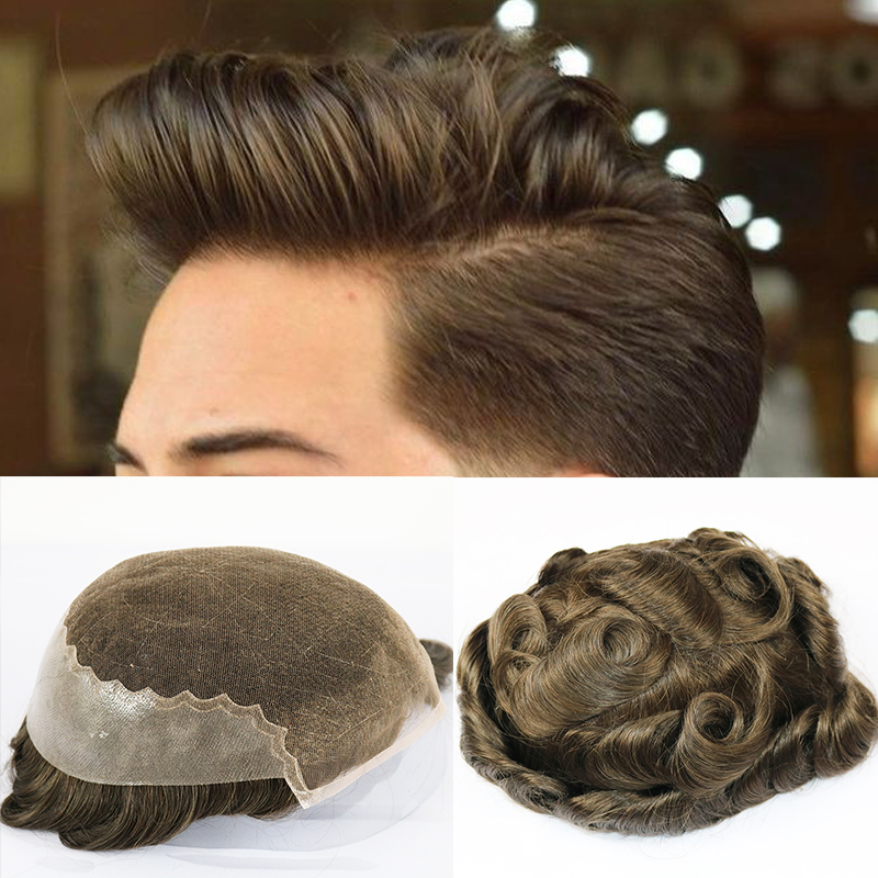 Q6  Virgin Human Hair Toupee For Men With 8x10 Inch Soft French Lace Cap With 2inch Clearly PU In Back Natural Wave Men's Hair