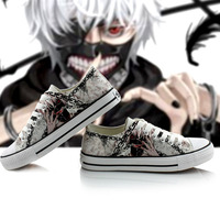 2018 Spring Autumn Male Fashion Cute Tokyo Ghoul 3D Printing Shoes Casual Kaneki Ken Low Top Flat Canvas Sneakers A50911