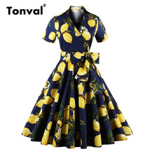 Tonval 2017 Lemon Pattern Vintage Dress Dots Elegant Short Sleeve Belt Dress Women V Neck Sexy Plus Size Floral Summer Dress