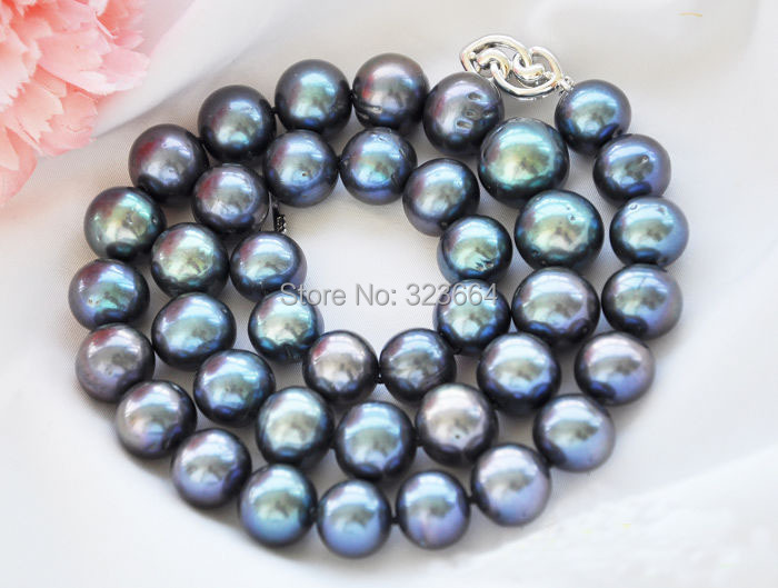 Collier de perles noires rondes paon AA + + 18 14mmCollier de perles noires rondes paon AA + + 18 14mm