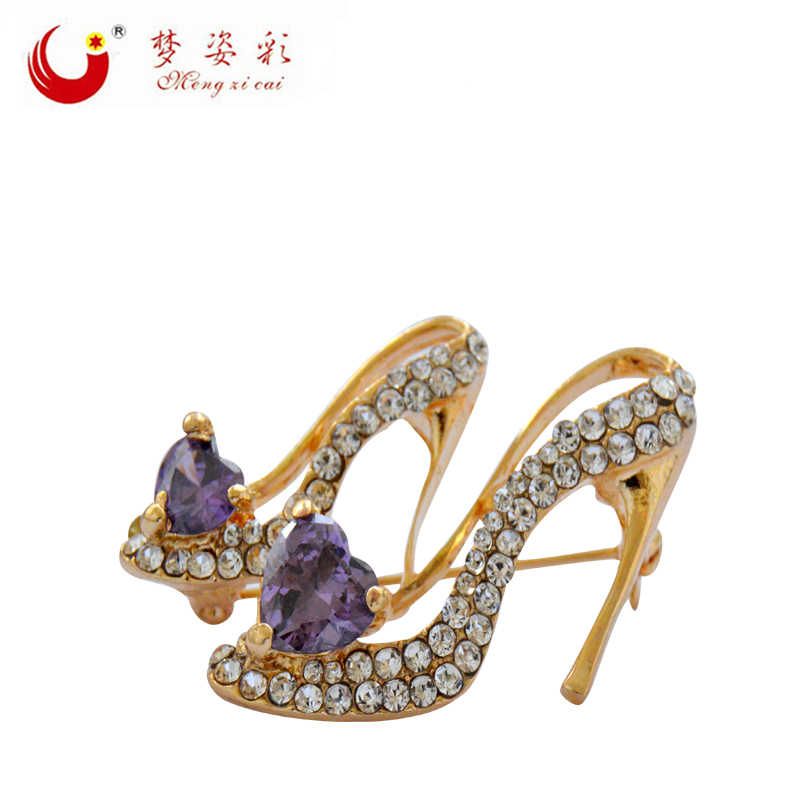 fc32778fdcf3b CAIZI New Crystal Shoes Brooches Female Hign Heels Enamel Pin Purple Heart  Brooches for Women Wedding Dress Party Jewelry Gifts