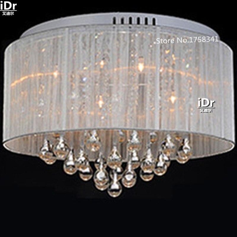 Moderne simple tissu cristal chambre lampe Hall lustre lumières atmosphère haut de gamme chambre lampe Hall