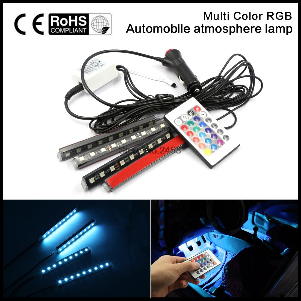 2016 4strip set Interior Decorative Atmosphere Neon Light Lamp LED Wireless Remote Multi Color RGB Car
