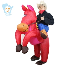 Halloween Costume Men Cosplay Carry Me Ride On Costume Inflatable Cowboy Ride Horse Stitch Costume
