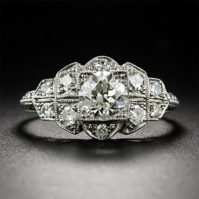LASAMERO Moissanites Ronda de 1.5 Quilates 14 k Blanco Anillo de Compromiso de Oro Antiguo de Filigrana Floral Laboratorio Crecido Anillo de Bodas de Diamante