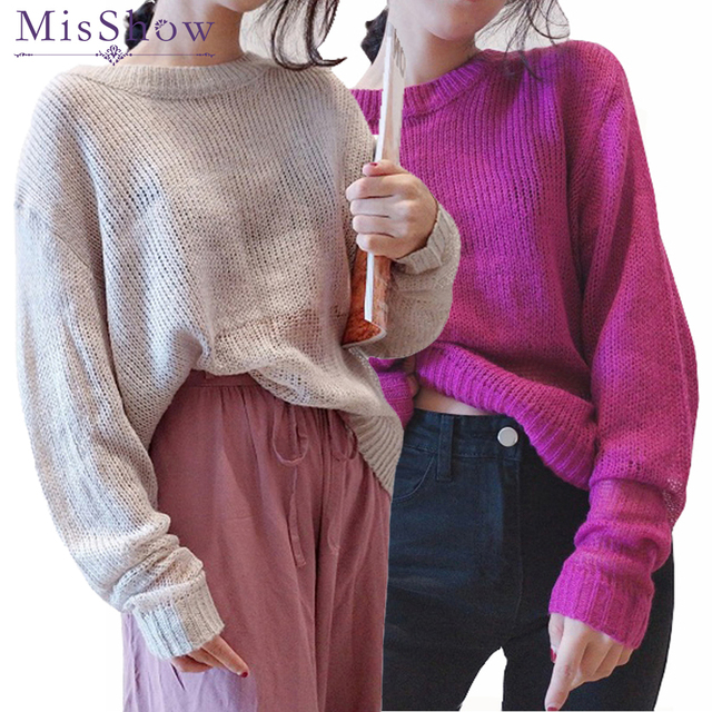 Light Cashmere Sweater Women Oversized Long Sleeve Knitted Sweater Loose  Hollow Out Mohair Sweater Female Pullovers 24ad0087a