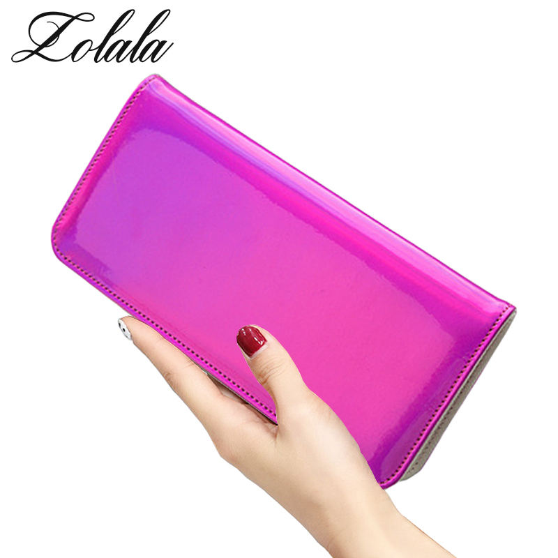 Zolala Fashion Women Leather Wallet Hologram Color Clutch Wallets And Purses Leather Long Brand Money Purse Credit Card Wallet zolala fashion bags women leather hologram wallet style wallet female clutch purses long brand money purse credit card wallets