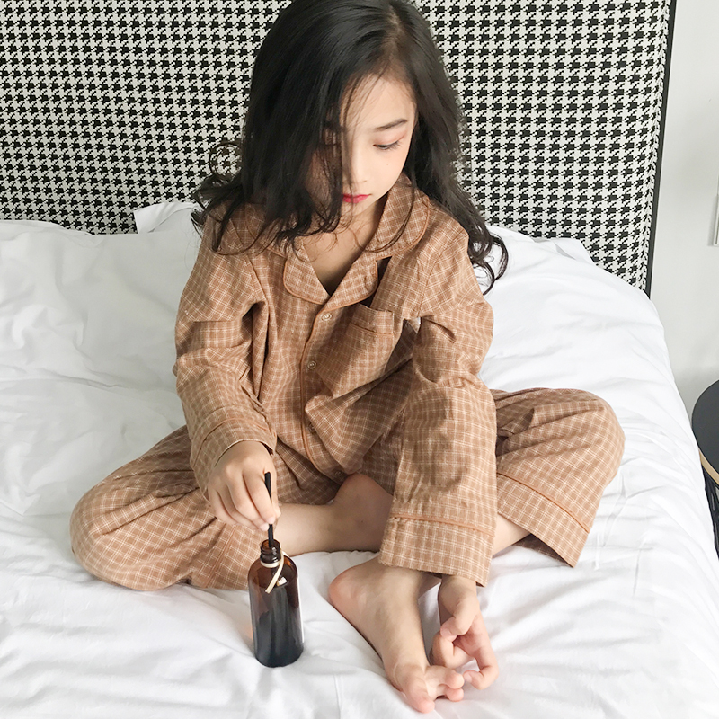 цена на Girls home service suit 2018 autumn and winter new big children's children's cardigan pajamas long-sleeved trousers two-piece