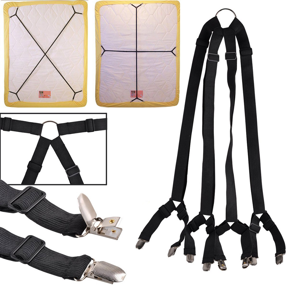 1 Set Crisscross Adjustable Bed Fitted Sheet Straps Suspenders Gripper Holder Fastener Clips Clippers Kit