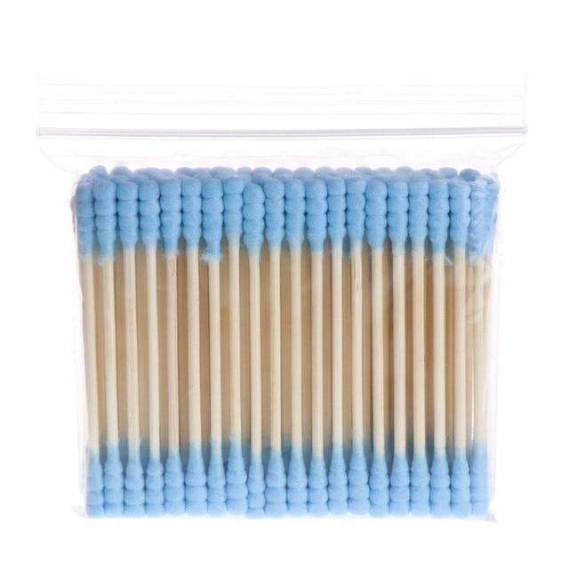 100 piezas de maquillaje cosmético de doble cabeza bastoncillo de algodón para mujer, auriculares de algodón para la limpieza médica, puntas herramientas para las orejas de la nariz palos de madera