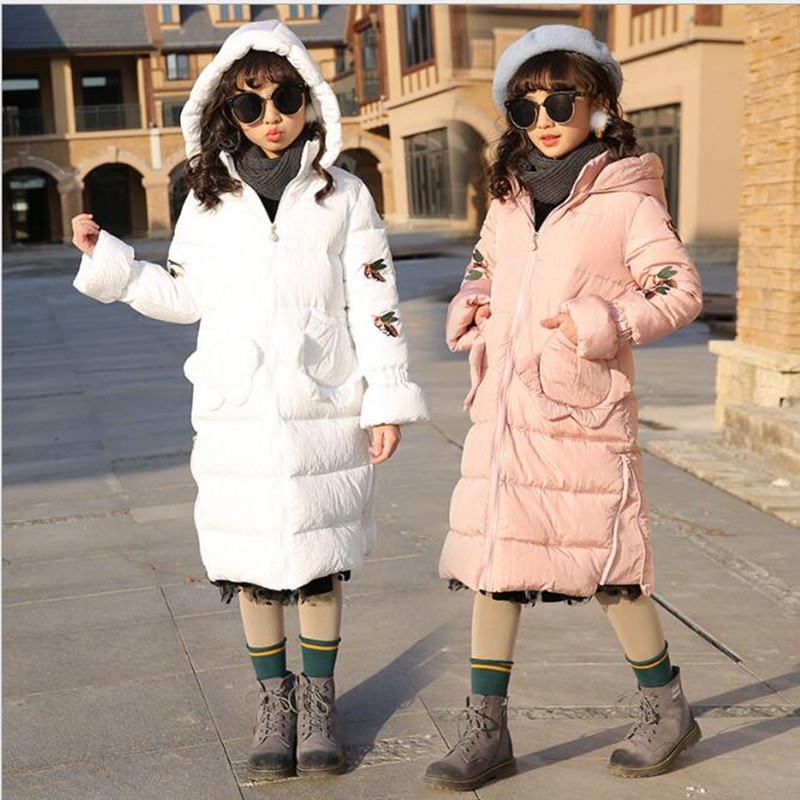 Children's wear 2017 winter clothing new girl down cotton dress, long Korean version of the cotton jacket. AC8 lucky panda 2016 woman the new winter coat in the korean version of women s fur collar down cotton cultivation lkb021
