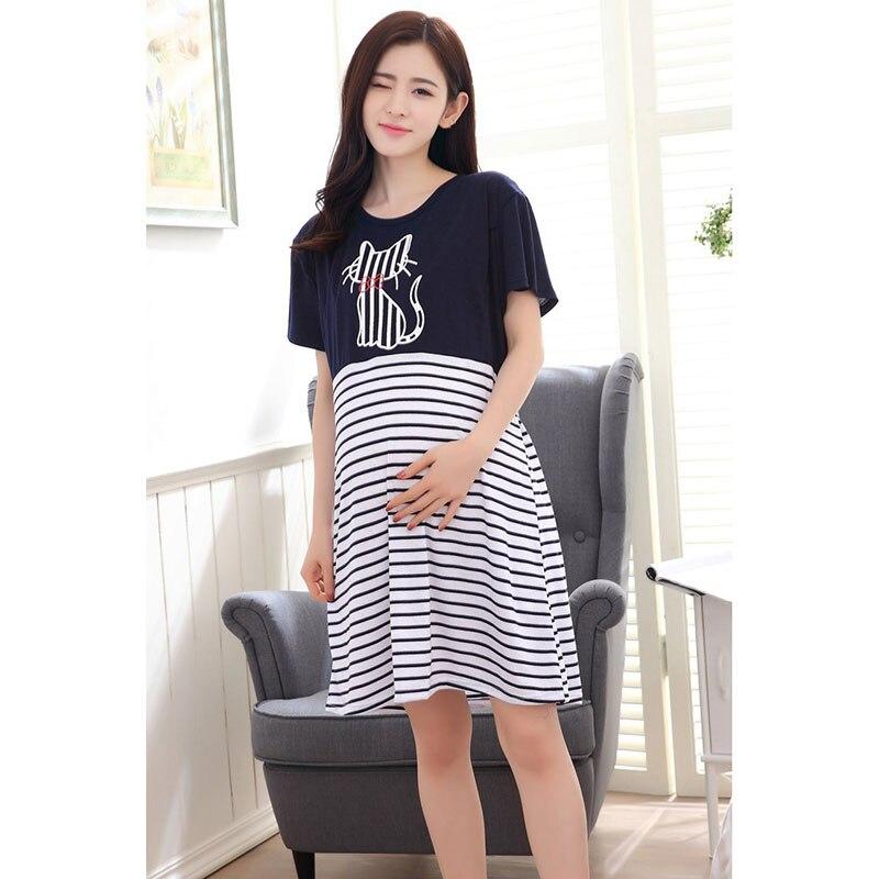 2019 Summer Pregnant Women Short Sleeve Pajamas Out Nursing Dress Maternity Breastfeeding Dress Cotton Lactation Dress