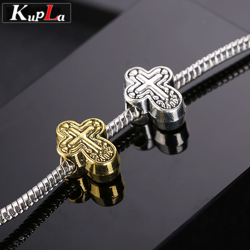 Vintage Metal Cross Beads fit Pandora Charms Bracelets European Beads Fashion DIY Big Hole Spacer Beads for Jewelry Making