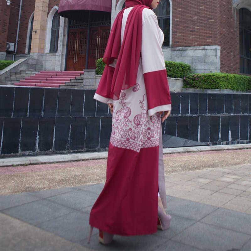 Plus rozmiar Abaya Dubai Kimono długi czerwony Maxi sweter strój muzułmański Ramadan Abayas dla kobiet turecki islamski odzież z Hijabs