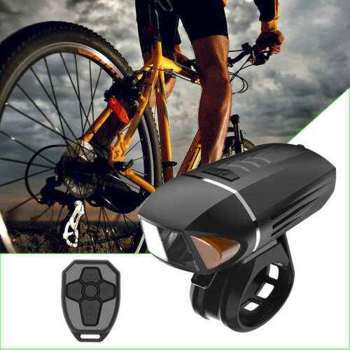 Bicycle Rechargeable Front Light USB Horn Lamp Remote Control Waterproof Torch