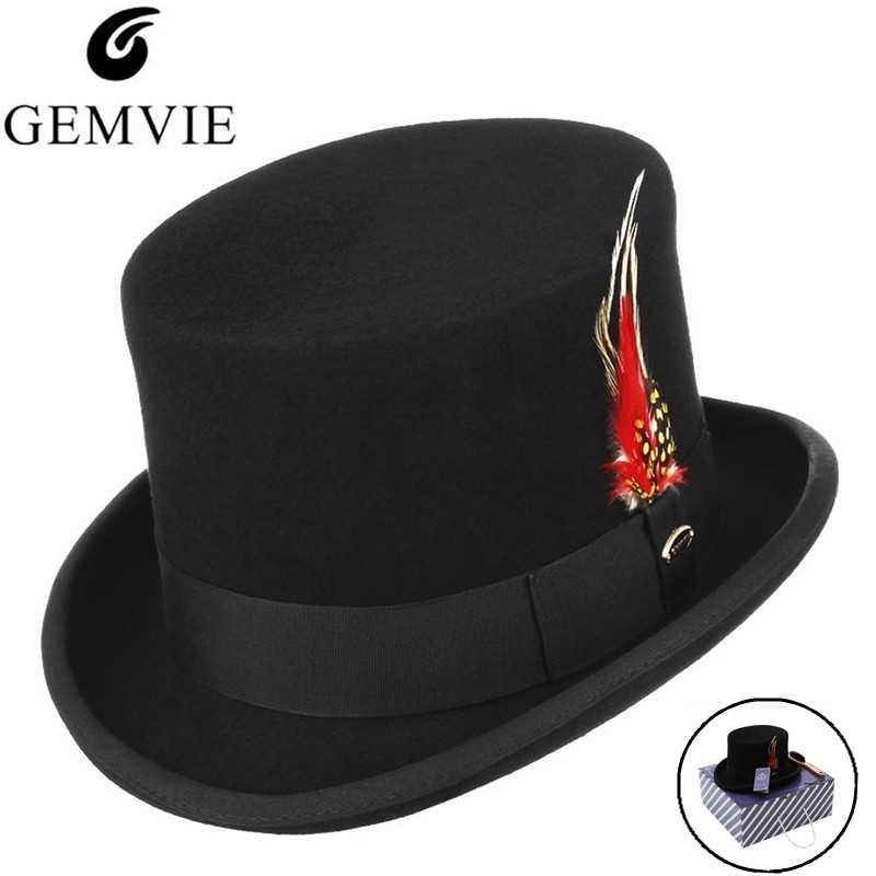 GEMVIE Retro Top Hat Men 100% Wool Fedoras Solid Color Classical President  Cap Formal Gentlemen 035ca7114282