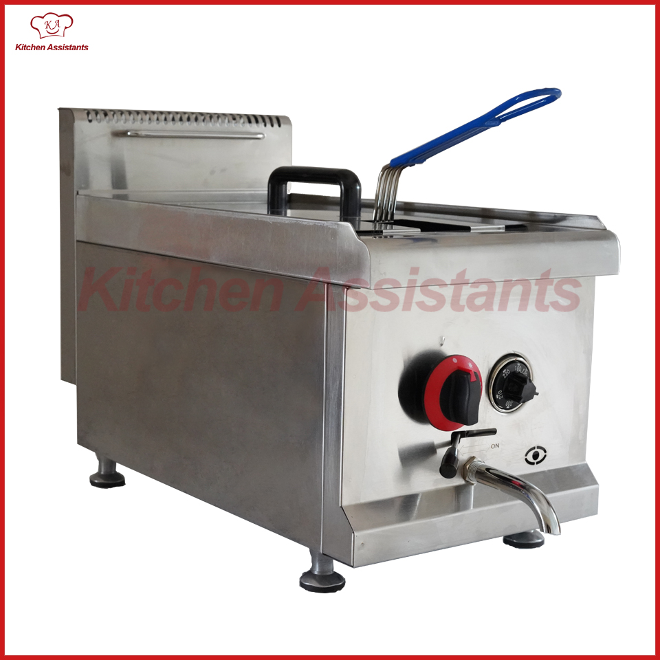 GF71A commercial counter top stainless steel potato big volume lpg gas chicken fryer machine with basket цена и фото