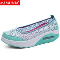 MEMUNIA new shoes woman round toe shallow flats women Casual mother`s shoes Walking Footwear Breathable Light Soft flat shoes