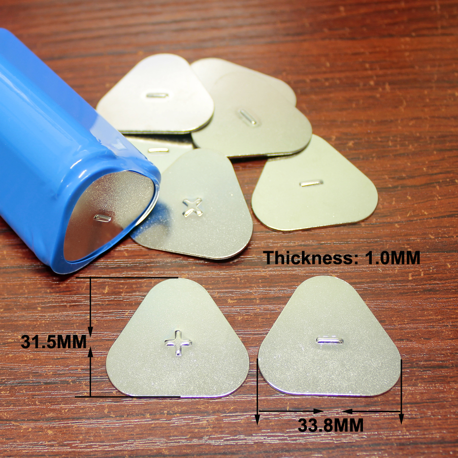 Image 2 - 50pcs/lot 18650 lithium battery cap battery pack 3S triangle positive and negative sheet carbon steel plating spot solder-in Replacement Parts & Accessories from Consumer Electronics
