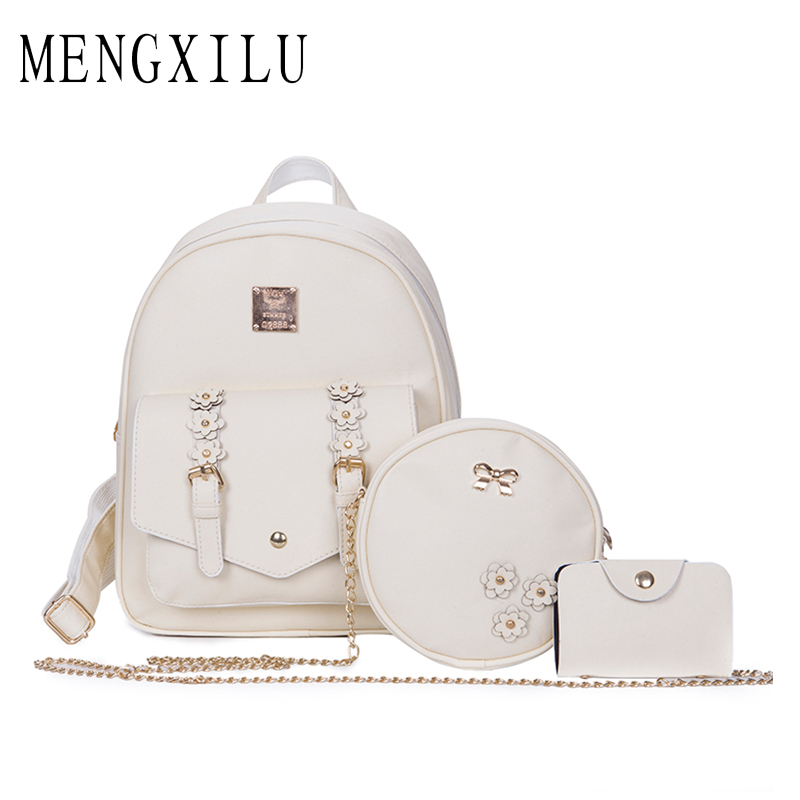 MENGXILU Fashion Flowers Backpack Women Bag 3 Pcs School Bags For Girls Backpacks New Belt Shoulder Bags Top PU Leather Backpack aequeen womens backpacks nylon backpack shoulder bags fashion ladies small ruck school for girls travelling shopping bag