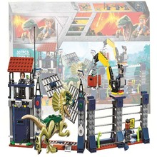 2018 New legoing 75931 307pcs Jurassic World The Dilophosaurus Front Gate Attack Building Block Toys For Children Bela 10923