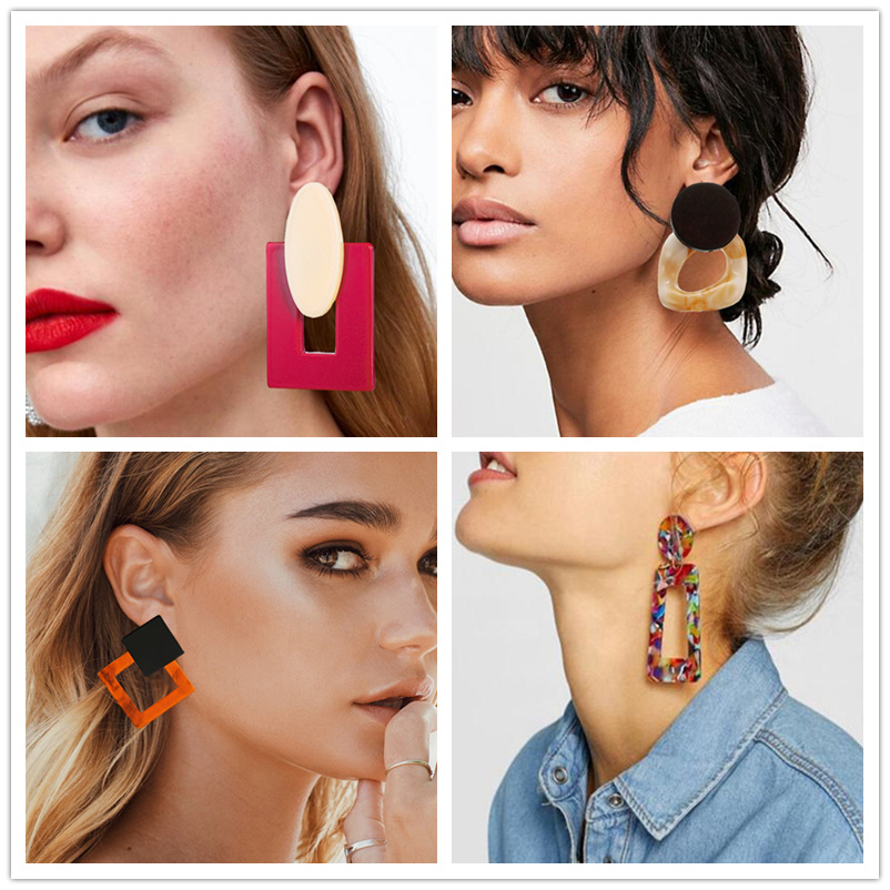 Acrylic Earrings 2019 Big Statement Earrings For Women Resin Oval Square Geometric Drop Dangle Earrings Bohemian Jewelry Gift