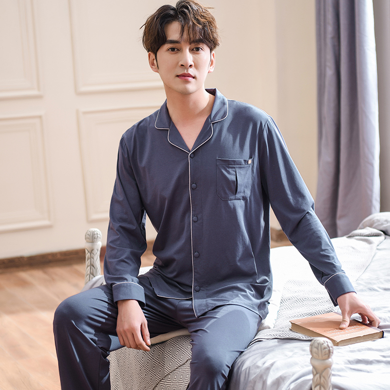 J&Q 100% Cotton Mens Pajams Set Long Sleeves Long Pajamas Pants Solid Elegant Homewear 2019 Fashion Mens Pyjama Sleepwear Suits