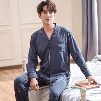 J&Q 100% Cotton Mens Pajams Set Long Sleeves Long Pajamas Pants Solid Elegant Homewear 2019 Fashion Mens Pyjama Sleepwear Suits - DISCOUNT ITEM  43% OFF All Category