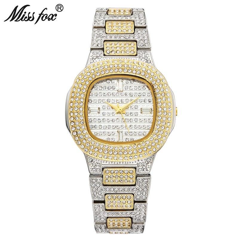 Miss Fox Bussiness Quartz Watch Famous Brand Bu Diamond Watch Stainless Steel Timepiece Women Golden Clock