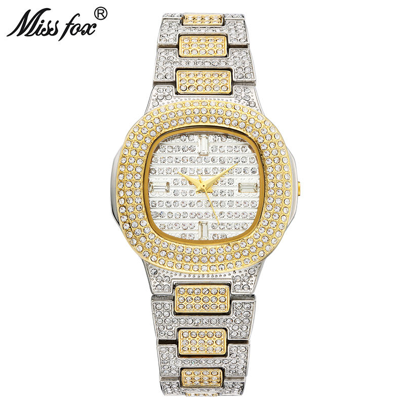 MISSFOX Bussiness Quartz Watch Famous Brand Bu Diamond Watch Stainless Steel Timepiece Women Golden Clock Ladies Designer Watch