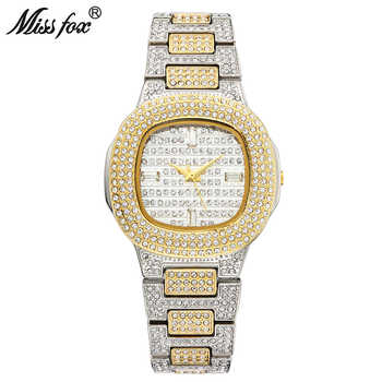 MISSFOX Bussiness Quartz Watch Famous Brand Bu Diamond Watch Stainless Steel Timepiece Women Golden Clock Ladies Designer Watch - DISCOUNT ITEM  50 OFF Watches