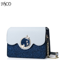 2017 Brand Design Luxury Diamond Mermaid Lock Sequin Clutch Women Handbag Party Messenger Bag Patchwork Blue