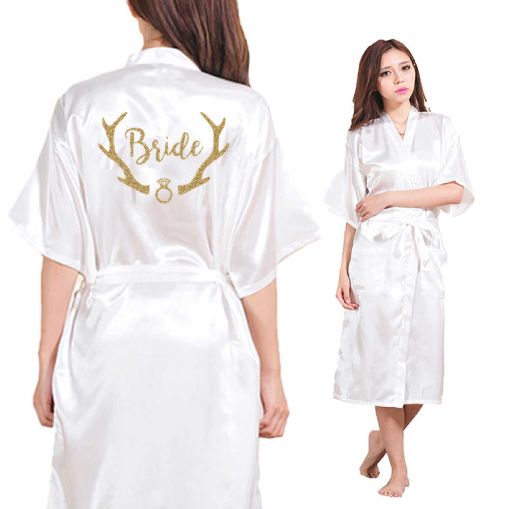 DongKing Satin Faux Silk Wedding Bride Tribe Robes White Dressing Gown Kimono  Bathrobes Bride print on 673913724