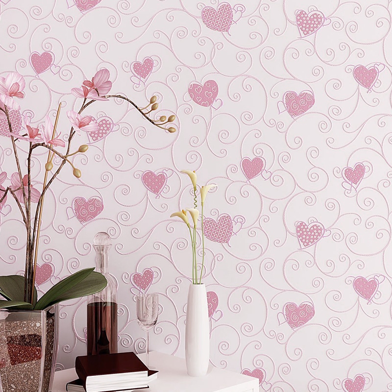 Sweet Cartoon 3d Embossed Heart Pattern Wallpaper Kids Rooms Pink Girl Bedroom Decor Wallpapers Self Adhesive Wall Paper EZ050 In From Home