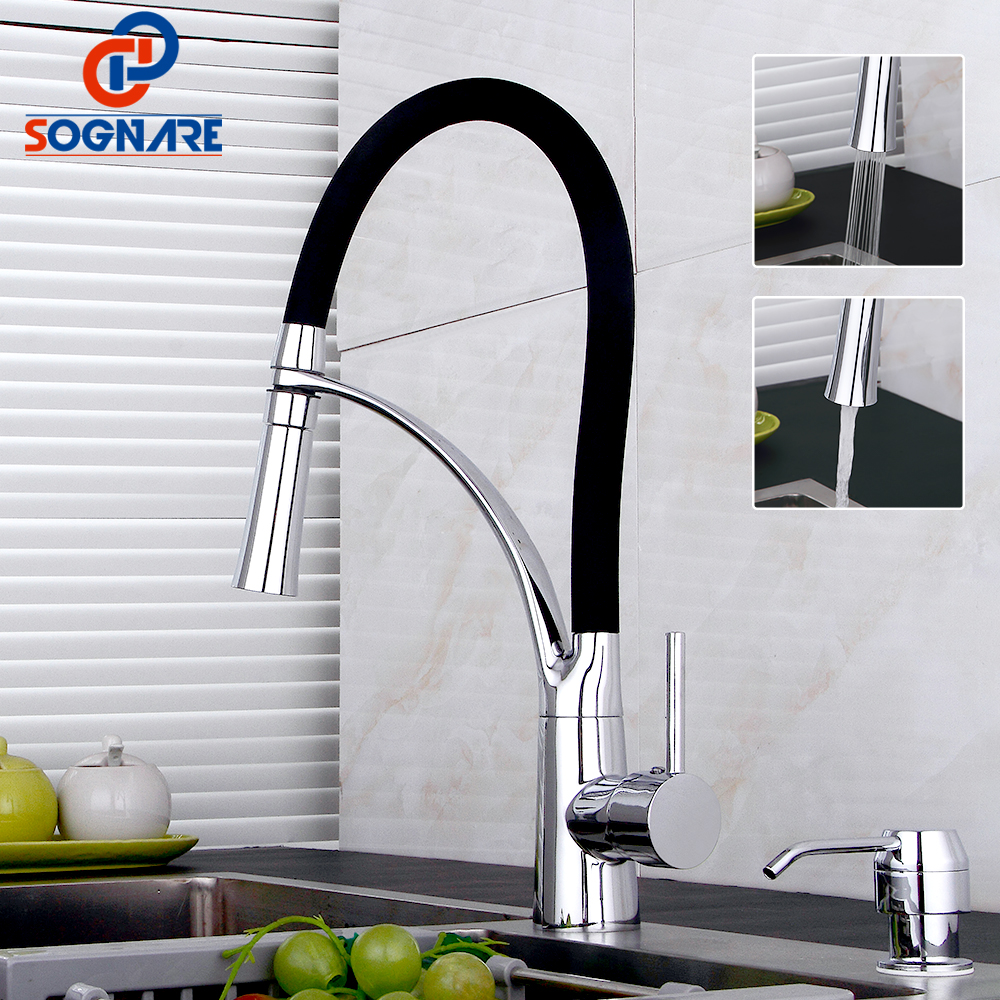 SOGNARE Kitchen Faucet Pull Out With Rubber Design Chrome Mixer Tap Faucet Pull Down Crane For