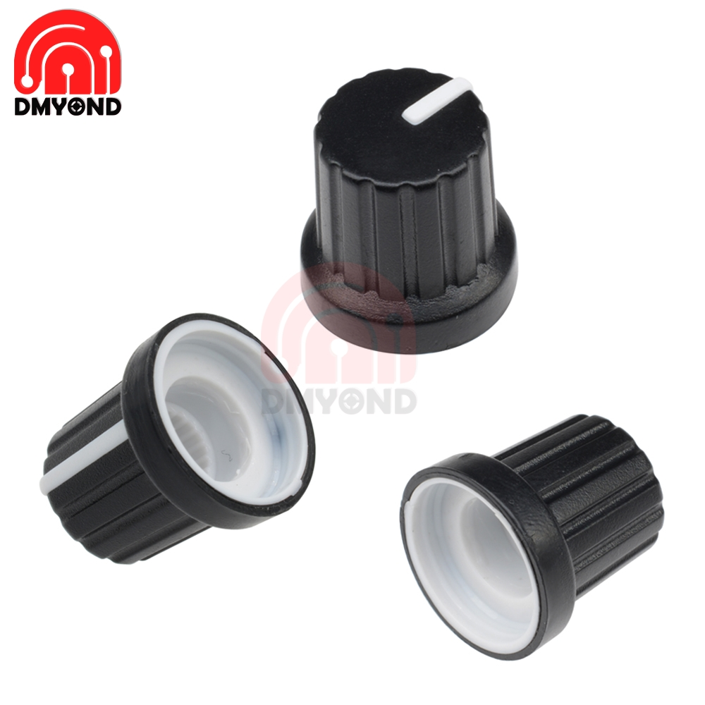 Dynamic 1pcs Black Gold White Potentiometer Knob Cap Inner 6mm 17x21mm Volume Adjustment Rotary Switch Aluminum Switch Potentiometer Cap Tool Parts