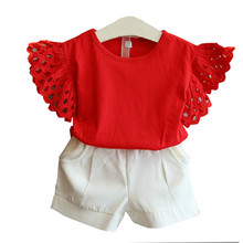 купить Summer kids clothes Fly Sleeve red yellow top Shorts girls outfits toddler girl clothing 3 4 5 6 7 8 years children's clothing дешево
