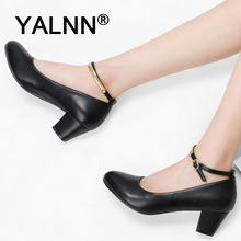 YALNN 2019 New Fashion High Heels Women Pumps Thick Heel Classic White Black Sexy Prom Wedding Shoes Big Size 34-43