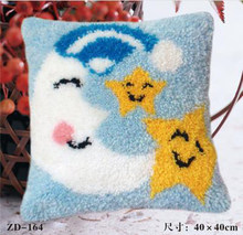 Manual DIYcreative gifts Moon Stars Latch Hook Rug Kits Needlework Unfinished Pillow Rug Yarn Cushion Embroidery Carpet(China)