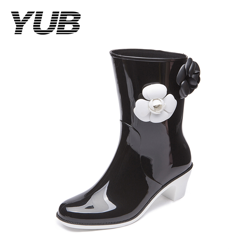 YUB Brand PVC Waterproof Lady's Fashion Rain Boots with Appliques Mid-Calf Women Boots High-Heeled Rubber Shoes Size 6-8 yub brand waterproof rain boots for women with solid color slip on winter mid calf shoes for girls